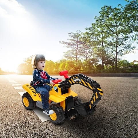 LEADZM Children's Ride on Excavator Toy Car with Two Plastic Artificial Stones, A Hat