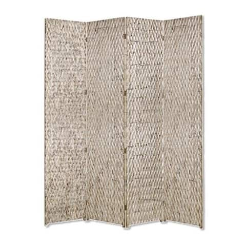 4 Panel Foldable Room Divider with Patterned Wood Panelling, Silver