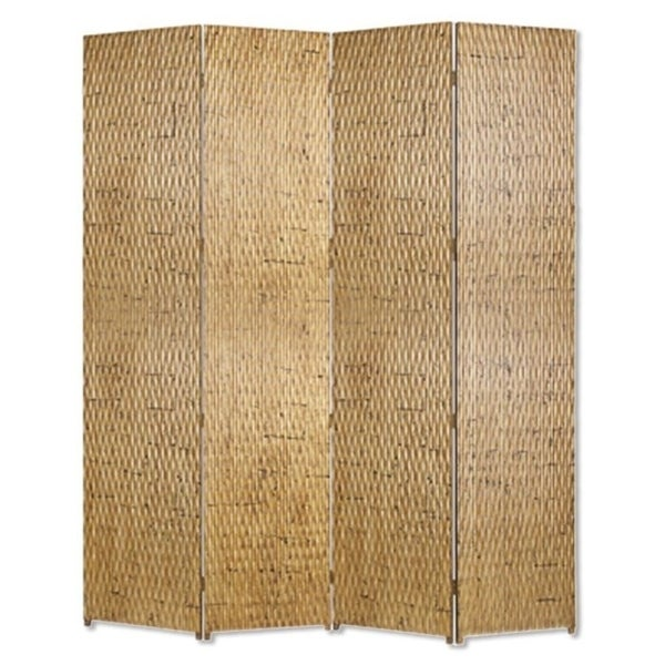4 Panel Foldable Room Divider with Patterned Wood Panelling, Gold