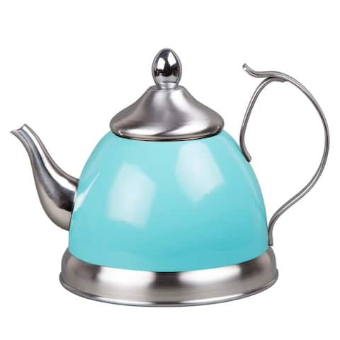Creative Home 1.0 Qt. Nobili-Tea Stainless Steel Tea Kettle with Removable Infuser Basket, Aqua Sky
