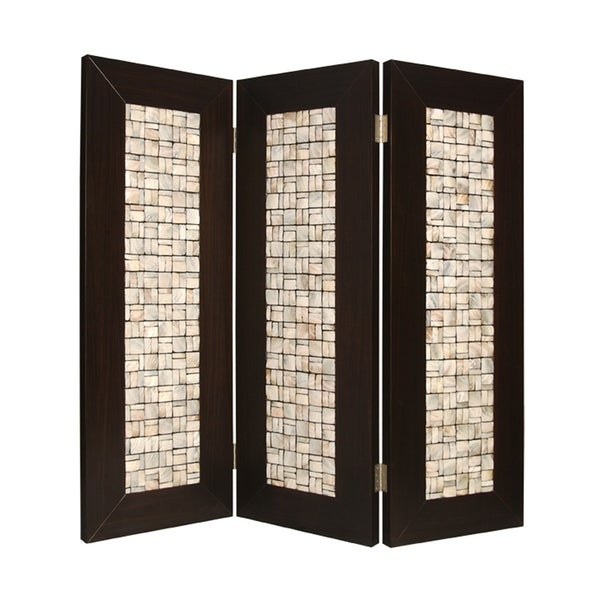 3 Panel Room Divider with Pearl Shell Inlay, Brown and Beige