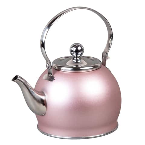 Creative Home Royal Stainless Steel Tea Kettle with Removable Infuser Basket, Folding Handle, 1.0 Quart, Rose Gold Finish
