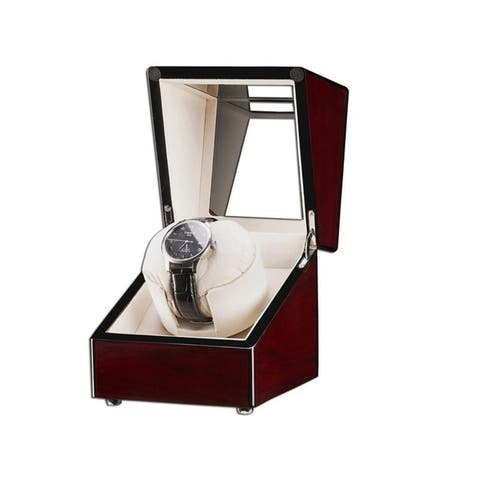 Single Watch Winder Automatic Rotation Wood Display Case Watch Box Storage Organizer
