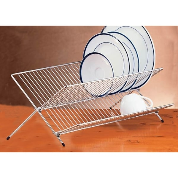 Creative Home Chrome Plated Heavy Gauge Stainless Steel Folding Dish Rack. Opens flyout.