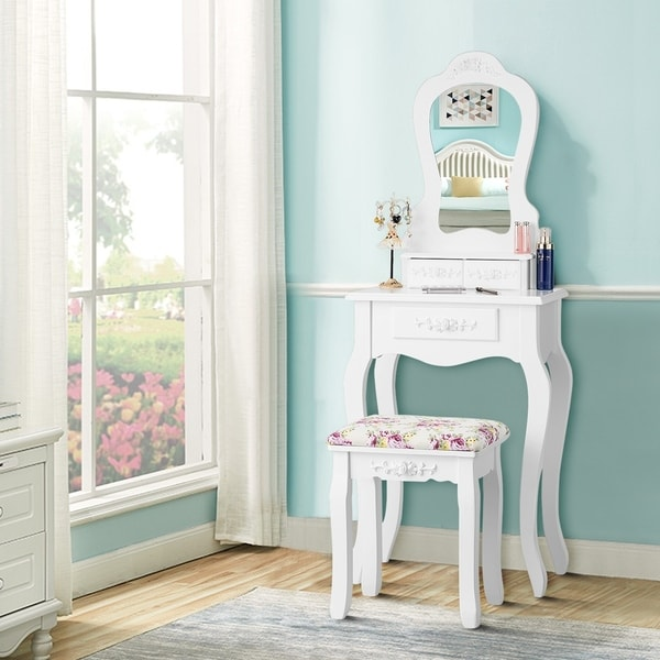 Vanity Table Mirror Modern Dressing Desk with Drawers Cushioned Stool. Opens flyout.