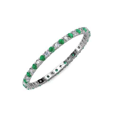 TriJewels Emerald Diamond 1/2 ctw Women Prong Eternity Band 14KW Gold