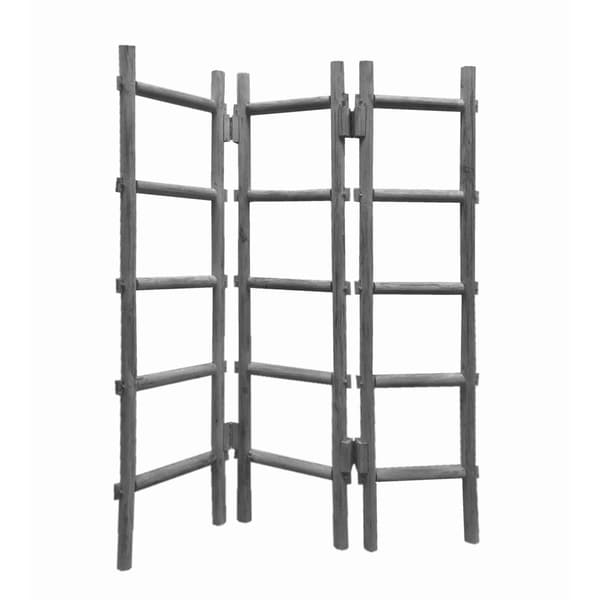 Contemporary 3 Panel Wooden Screen with Ladder Design, Gray