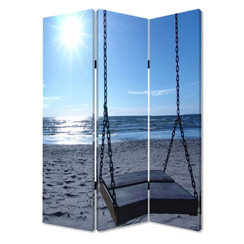 Wooden 3 Panel Room Divider with Seaside Screen Pattern, Blue and Gray