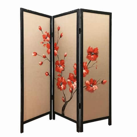 3 Panel Wooden Screen with Hand painted Fabric Design, Red and Brown