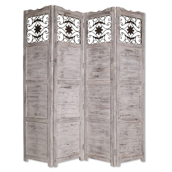 Wooden 4 Panel Screen with Textured Panels and Scrolled Details, White