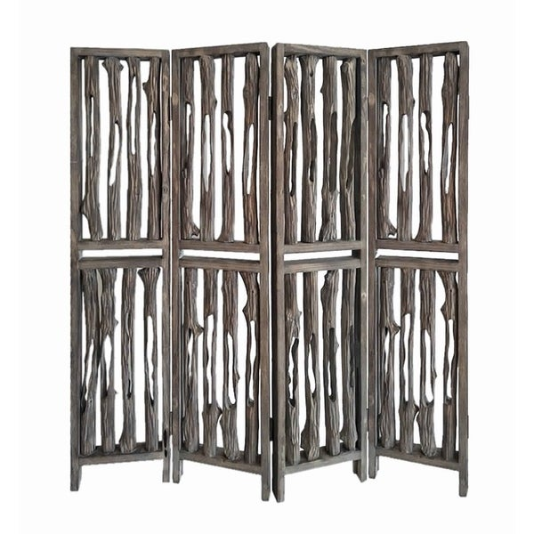 Contemporary 4 Panel Wooden Screen with Log Design, Brown