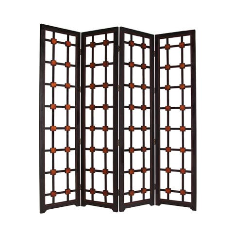 Wooden 4 Panel Screen with Modern Cosmopolitan Design, Black and Red