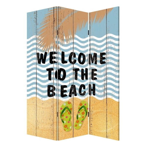 Foldable Canvas Screen with Beach Print and 3 Panels, Multicolor