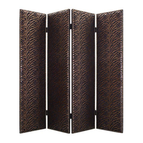 Wooden 4 Panel Screen with Nailhead Trim Accents, Black and Bronze
