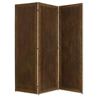 Metal 3 Panel Screen with Textured Nub Head Accent Borders, Brown