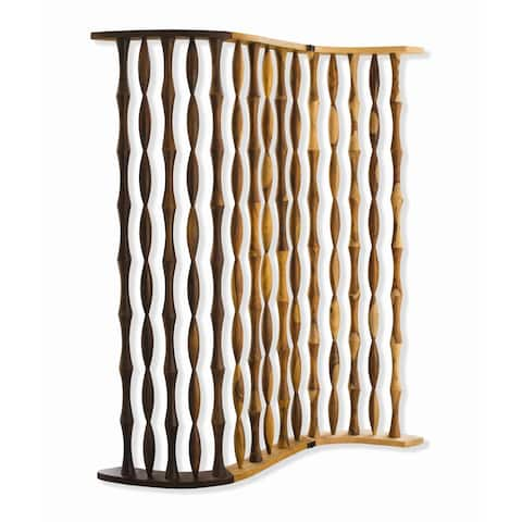 Contemporary 3 Panel Wooden Screen with Arched Pillar Design, Brown