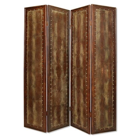 Wooden 4 Panel Floor Screen with Nailhead Trim Accents, Brown