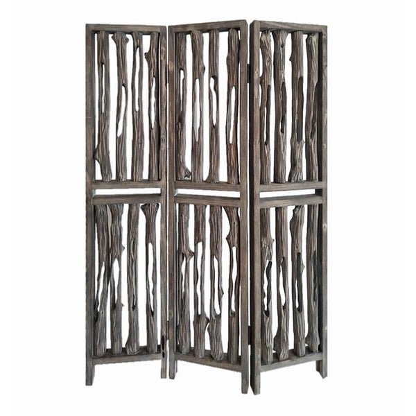 Contemporary 3 Panel Wooden Screen with Log Design, Brown
