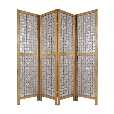 Royal 4 Panel Mango Wood Screen with Capiz Shell Decor, Brown