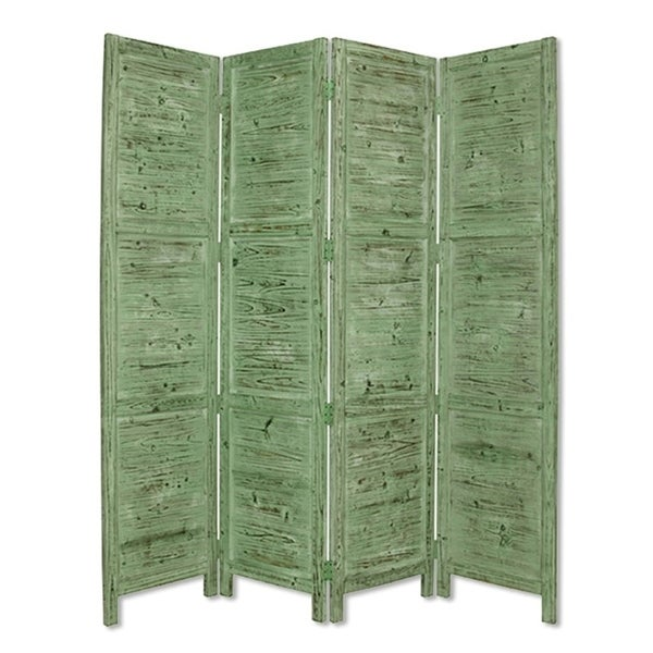 Wooden 4 Panel Foldable Floor Screen with Textured Panels, Green