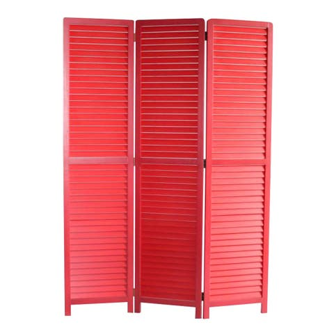 Transitional Wooden Screen with 3 Panels and Shutter Design, Red