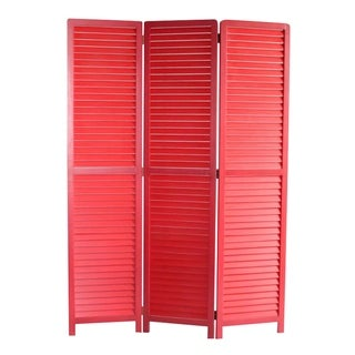 Link to Transitional Wooden Screen with 3 Panels and Shutter Design, Red Similar Items in Decorative Accessories