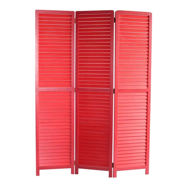 Transitional Wooden Screen with 3 Panels and Shutter Design, Red. Opens flyout.