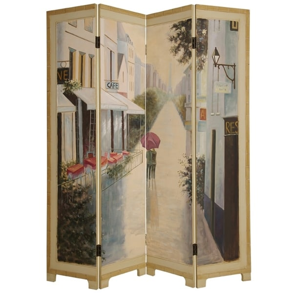 Wooden Screen with Artwork of Hand Painted Paris Promenade, Multicolor