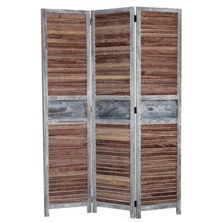 Traditional Wooden Screen with 3 Panels and Shutter Panels, Brown & Gray