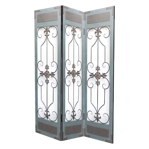 Transitional 3 Panel Screen with Iron Motif Panels, Gray