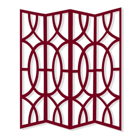 Modern Style 4 Panel Screen with Geometrical Stencil Design, Red