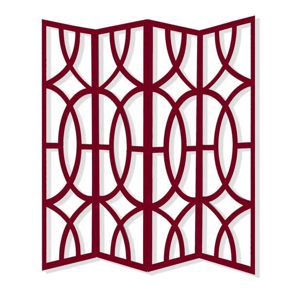 Modern Style 4 Panel Screen with Geometrical Stencil Design, Red. Opens flyout.