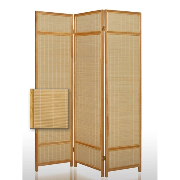 Wooden Frame 3 panel Foldable Screen with Bamboo Straw Details, Brown