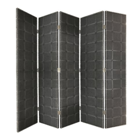 Modern Style 5 Panel Screen with Faux-Leather Button Tufting, Black