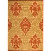 "Safavieh St. Barts Damask Natural/ Terracotta Indoor/ Outdoor Rug (6'7 x 9'6) - 6'7"" x 9'6"""
