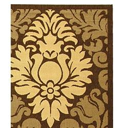 Safavieh St. Barts Damask Chocolate/ Natural Indoor/ Outdoor Rug (6'7 x 9'6)