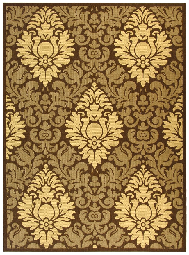 Safavieh St. Barts Damask Chocolate/ Natural Indoor/ Outdoor Rug - 8' x 11'