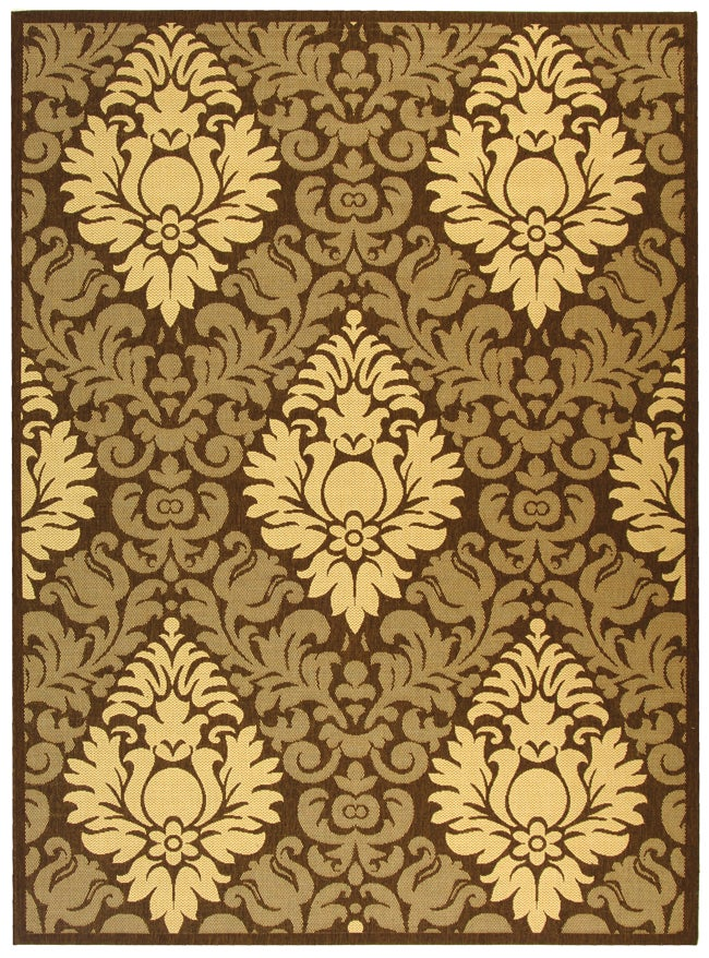 Safavieh St. Barts Damask Chocolate/ Natural Indoor/ Outdoor Rug (8' x 11')