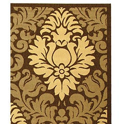 Safavieh St. Barts Damask Chocolate/ Natural Indoor/ Outdoor Rug (8' x 11') - Thumbnail 1
