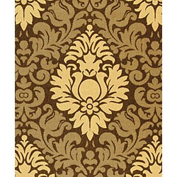 Safavieh St. Barts Damask Chocolate/ Natural Indoor/ Outdoor Rug (8' x 11') - Thumbnail 2