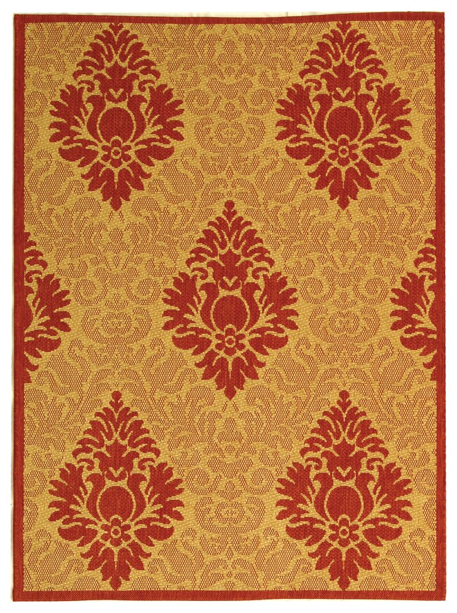 Safavieh St. Barts Damask Natural/ Red Indoor/ Outdoor Rug (2'7 x 5')