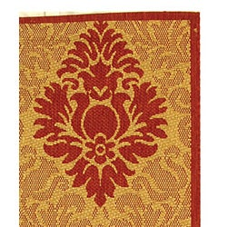Safavieh St. Barts Damask Natural/ Red Indoor/ Outdoor Rug (2'7 x 5') - Thumbnail 1