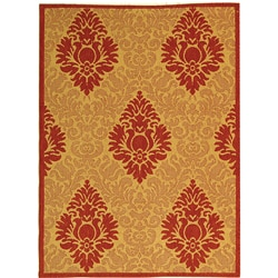 Safavieh St. Barts Damask Natural/ Red Indoor/ Outdoor Rug - 2'7 x 5' - Thumbnail 0