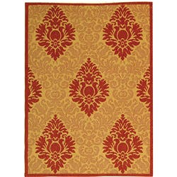 Safavieh St. Barts Damask Natural/ Red Indoor/ Outdoor Rug (2'7 x 5')|https://ak1.ostkcdn.com/images/products/3055659/Indoor-Outdoor-St.-Barts-Natural-Red-Rug-27-x-5-P11194720.jpg?impolicy=medium