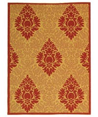 Safavieh St. Barts Damask Natural/ Red Indoor/ Outdoor Rug - 4' x 5'7