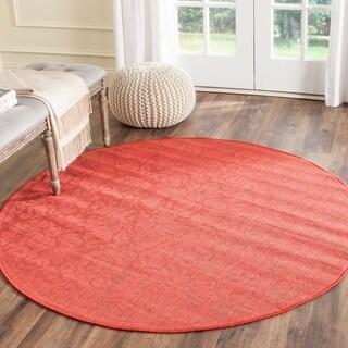 Safavieh Indoor/ Outdoor St. Barts Red Rug (5'3 Round)