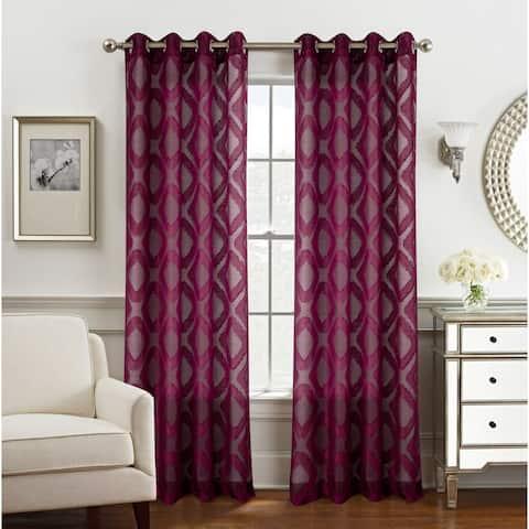Ariana Clipped Doily Single Grommet Curtain Panel - (1x) 54 x 84 in. - (1x) 54 x 84 in.