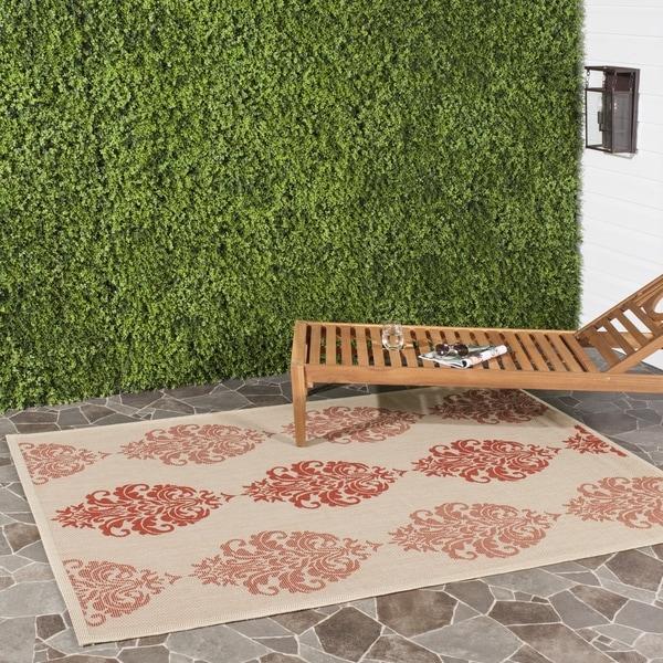Safavieh St. Martin Damask Natural/ Red Indoor/ Outdoor Rug (4' x 5'7)