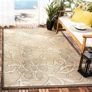 Safavieh Indoor/ Outdoor Aruba Sand/ Black Rug (6'7 x 9'6)