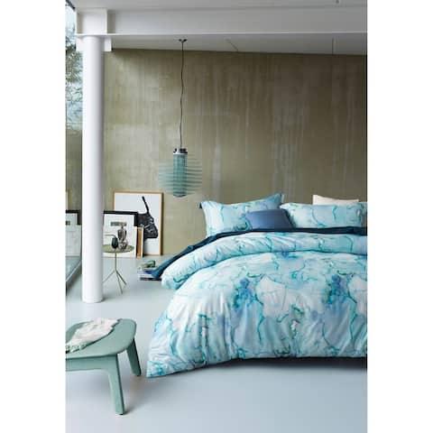 Mélange Home 3D Digital Printed Blue Marble 3pcs Cotton Duvet Set
